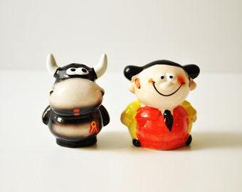 Vintage Ceramic Bullfighter & Bull - Torrero Salt - Pepper Set