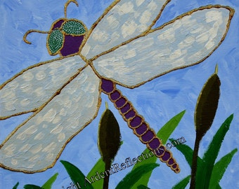 Dragonfly Painting, Original Painting, textured painting, shimmery painting, home decor, small paintings, wall art, relief, blue, Item #SDO1