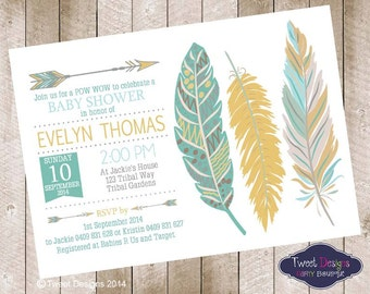 BABY SHOWER Invitation, Feather Invitation, Teal Feather Invitation, Gold Tribal Feather Invitation, Pow Wow Feather Baby Shower Invitation