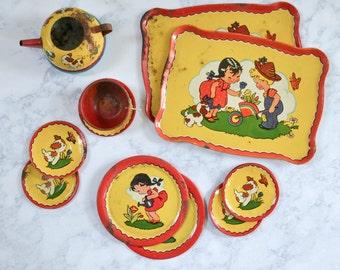 Vintage Toy Dish Set - Tin Litho Child's Tea Pot Metal Dishes Red Yellow