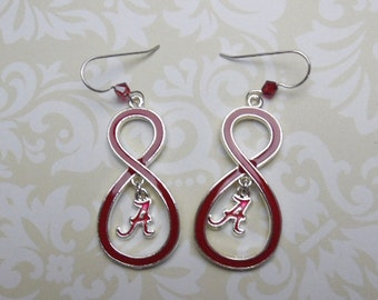 Alabama Earrings with script A dangle with Sterling Silver Earwire