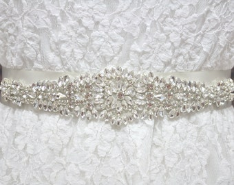 CHLOE Jeweled Beaded Belt, Wedding Belt, Bridal Belt, Wedding Sash, Bridal Sash, Crystal Rhinestone Belt, Wedding Dress Sash Belt