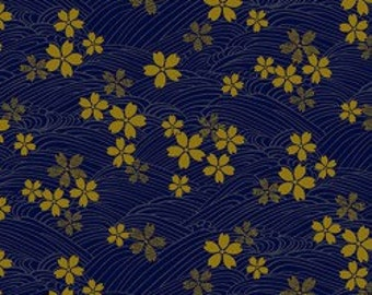 Japanese Gold by Quilt Gate 3980 14D in Blue with Gold Metallic Flowers