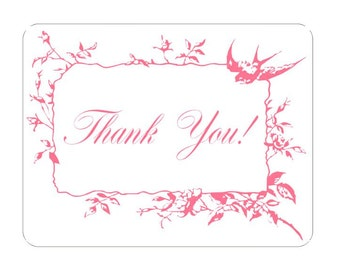Pink Thank You Customer Appreciation Note Card Tags Victorian Vintage Inspired Roses with Swallow Bird Accent