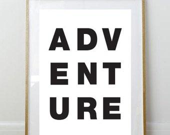 Adventure Print // Art Print // 8 x 10 Print // 8 x 10 // Wall Art // Home Decor // Kid's Room Print // Black and White Print // Simple //