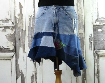 Upcycled Jeans,Jean Skirt,Recycled Jeans,Denim, Upcycled Clothing, Wearable Ar,t Repurposed Clothing