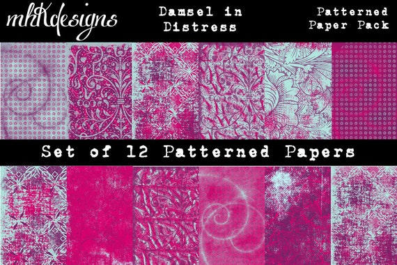 Damsel In Distress Digital Papers