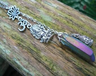spiritual necklace zen necklace Ganesha necklace  buddha necklace mystical quartz pendant necklace ohm necklace in yoga boho gypsy style