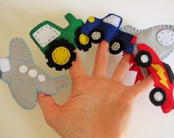 Vehicle finger puppets, finger puppet set, truck puppet, truck toy, finger puppets, childrens toy, party favor, stocking stuffer, boy toys