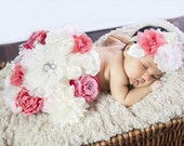 Maternity Sash and Little Girls matching Headbands Set in Coral and Pink Maternity Photo Prop Newborn Sash