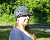 Newsboy Hat - Newsgirl Hat - Newsgirl Cap- Newsboy Cap-Newsboy Hat with Flower - Ladies Newsboy Hat- Crochet Hat for Women-