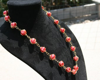 Red Gold Wire Wrapped Beads Necklace