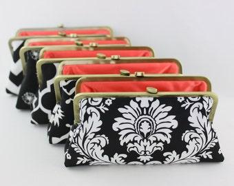 Black & White Bridesmaid Clutches / Custom Wedding Clutches / Black Wedding Clutch Gifts - Set of 9