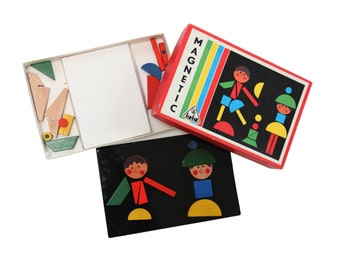 TOFA MAGNETIC vintage 60s colorfull wooden magnetic puzzle game for kids