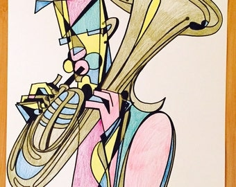 The Over-the-Shoulder Saxhorn Player -11 x 14 Illustration