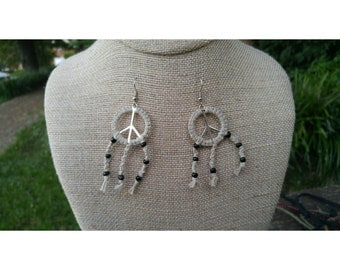 Peacecatcher Natural Hemp Peace Sign Dreamcatcher Dangle Earrings with Black Seed Beads
