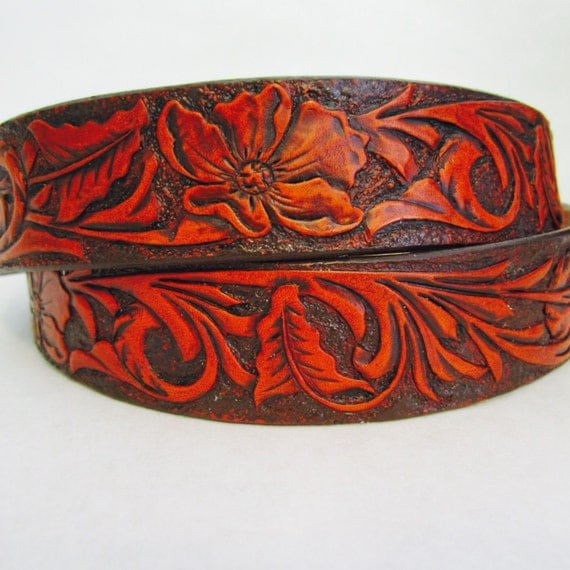 tooled leather belt with floral