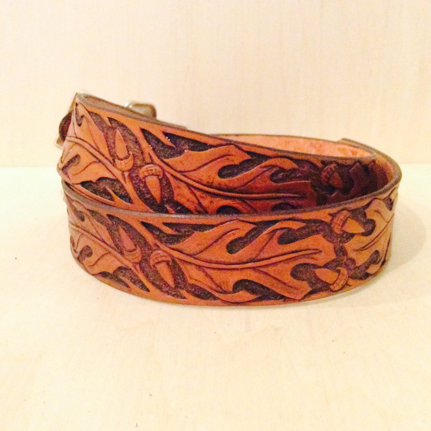 Hand tooled leather belt with oak leaf western