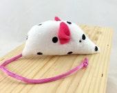 Organic Catnip mouse, kitten catnip toy, catnip mouse, polkadot mouse, white black pink