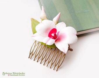 Comb Orchid Dendrobium  - Polymer Clay Flowers -  - Wedding Accessories - Wedding Hair Comb - Bridal Hair Comb - Bridal Hair Piece