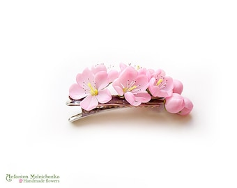 Hair clip Cherry Blossom - Polymer Clay Flowers