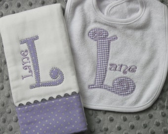 Personalized  Burp Cloth with matching Bib