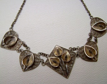 spun silver lily necklace, sterling
