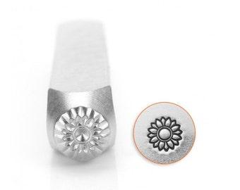 Impress Art Sunflower Metal Design Stamp- 6MM Steel Stamp- Steel Stamp- Jewelry Design Stamp- SGSC1514-O-6mm