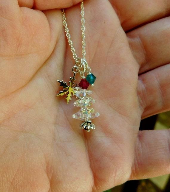Sterling silver Swarovski Crystal christmas tree, Christmas holiday necklace, Christmas gift