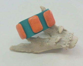 Orange Howlite Stones one Leather, Turquoise Leather Cuff, Southwest Leather Cuff