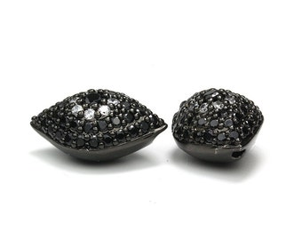 Micro Pave Evil Eye Beads, Gunmetal Micro Pave Bead with Black and Clear Crystals, 20x13.5x10mm,Pkg of 1 PC, B0U4.GM08.P01