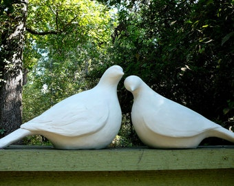 Pair of Large Minimalistic Dove Statues - Modern Yard Art - Bird Sculptures