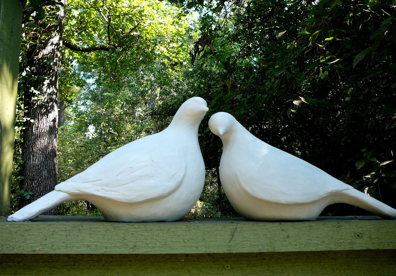 Pair Of Large Minimalistic Dove Statues Modern Yard Art