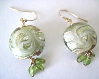 lovely celedon green glass dangle earrings