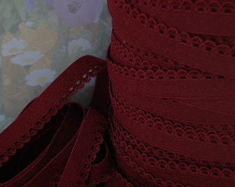 "5yds Elastic Burgundy Red Picot 3/8"" with Decorative Edging for Headbands Sewing lingerie Single sided Edging bra strap"