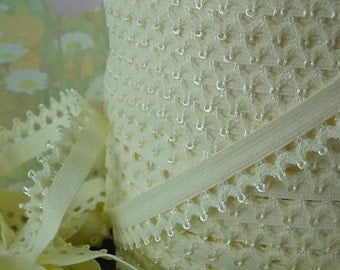 "5yd Elastic Trim Ivory 1/2"" Scallops Rick Rack Picot for Bra Trim Headbands Sewing lingerie Single sided Edging"