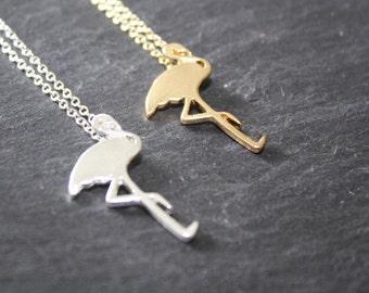Flamingo Necklace, Charm Necklace, Gold Flamingo Necklace, Silver Flamingo, Rose Gold Flamingo, Flamingo Jewelry, Flamingo Gift