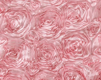 Baby Pink Satin Rosette Fabric, Floral Satin Fabric, 3D Rosette Fabric by the yard, Rosette Fabric Flower Satin- Style 1601