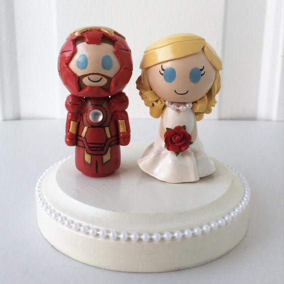 Wedding Cake Topper Customizable W Iron Man Groom By