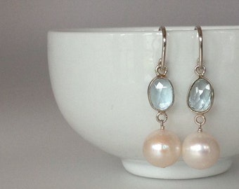 Topaz and Creamy Freshwater Pearl Drop Earrings On Sterling Silver