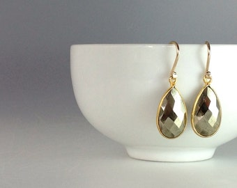 Winter SALE 10% off.......Faceted Teardrops Of Pyrite On 14k Gold Fill Earrings