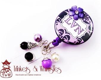 LVN Licensed Vocational Nurse Damask Orchid Purple Retractable Badge Holder