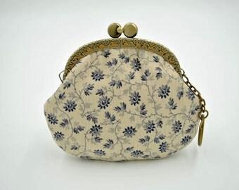 Bailian Corduroy Cloth Coin Purse - Cotton fabric with silver metal frame