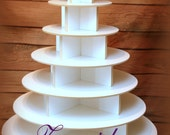 Cupcake Stand  7 Tier Round 200 Cupcakes with Threaded Rod White Melamine Wood Cupcake Tower Display Birthday Wedding Donut Stand