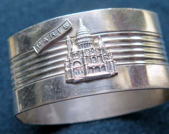 Souvenir-Napkin Ring From Paris.- SACRE COEUR- Montmartre -Silver plated.
