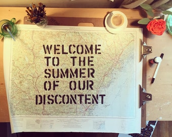 welcome to the summe of our discontent vintage map