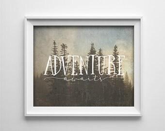 Art Print - Buy One Get One Free - Adventure Awaits - Rustic, Horizontal, Brown, Earthy, Gallery Wall Decor, Inspirational - SKU:172