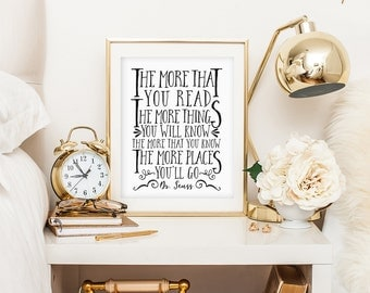 PRINTABLE Nursery wall art - Baby Shower Gift - The more that you read - Dr Seuss quote -Black and White - Inspirational Quote - SKU:514