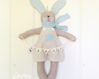 Bunny with bunting - baby boy nursery - newborn decoration - customised name - fiocco nascita coniglietto con bandierine per bimbo