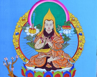 Silk appliqué of Tsongkhapa stretched on frame